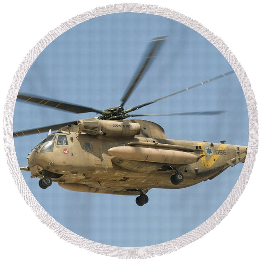 Israel Round Beach Towel featuring the photograph A Sikorsky Ch-53 Yasur Of The Israeli by Giovanni Colla