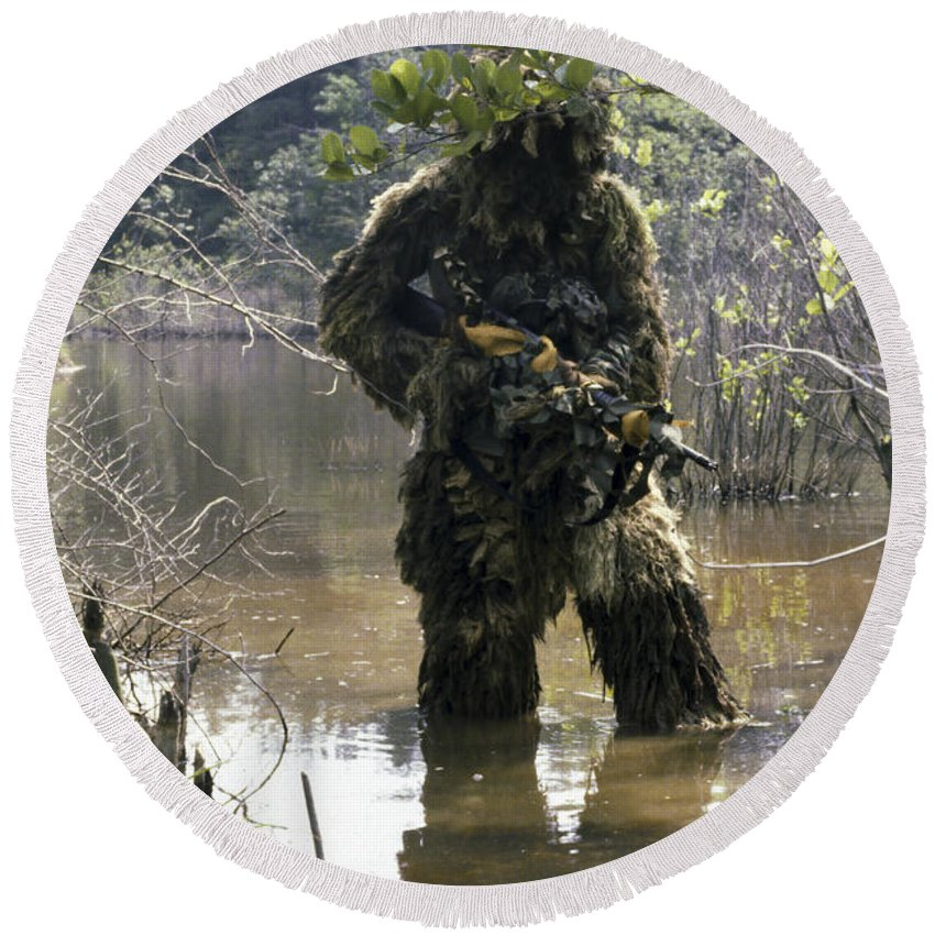 Three Quarter Length Round Beach Towel featuring the photograph A Sniper Dressed In A Ghillie Suit by Stocktrek Images