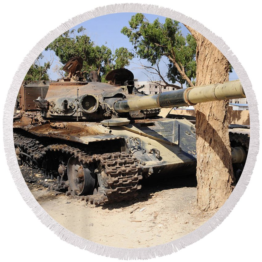 Libya Round Beach Towel featuring the photograph A T-72 Tank Destroyed By Nato Forces by Andrew Chittock