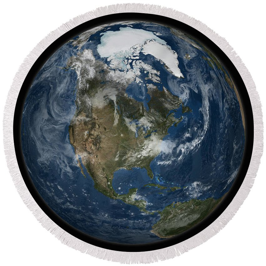 Arctic Round Beach Towel featuring the photograph A View Of The Earth With The Full by Stocktrek Images