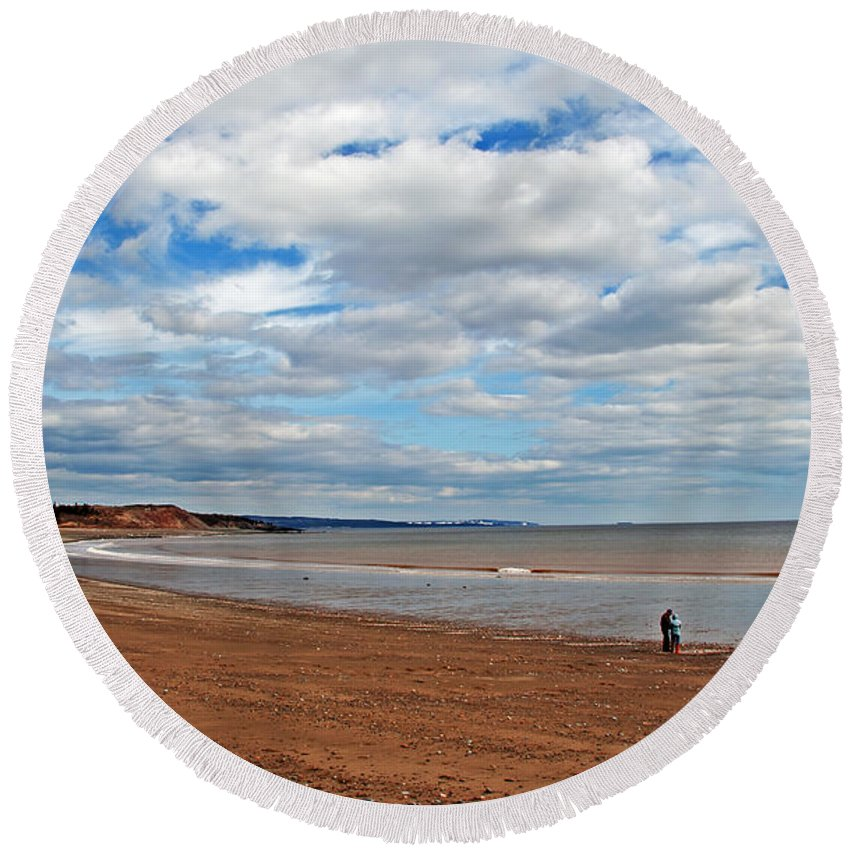 Beach Round Beach Towel featuring the photograph A Walk On The Beach by Jeff Galbraith