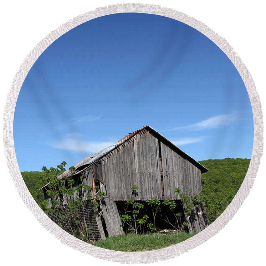 Copy Space Round Beach Towel featuring the photograph Abandoned Old Farm Building With Blue Sky by John Stephens