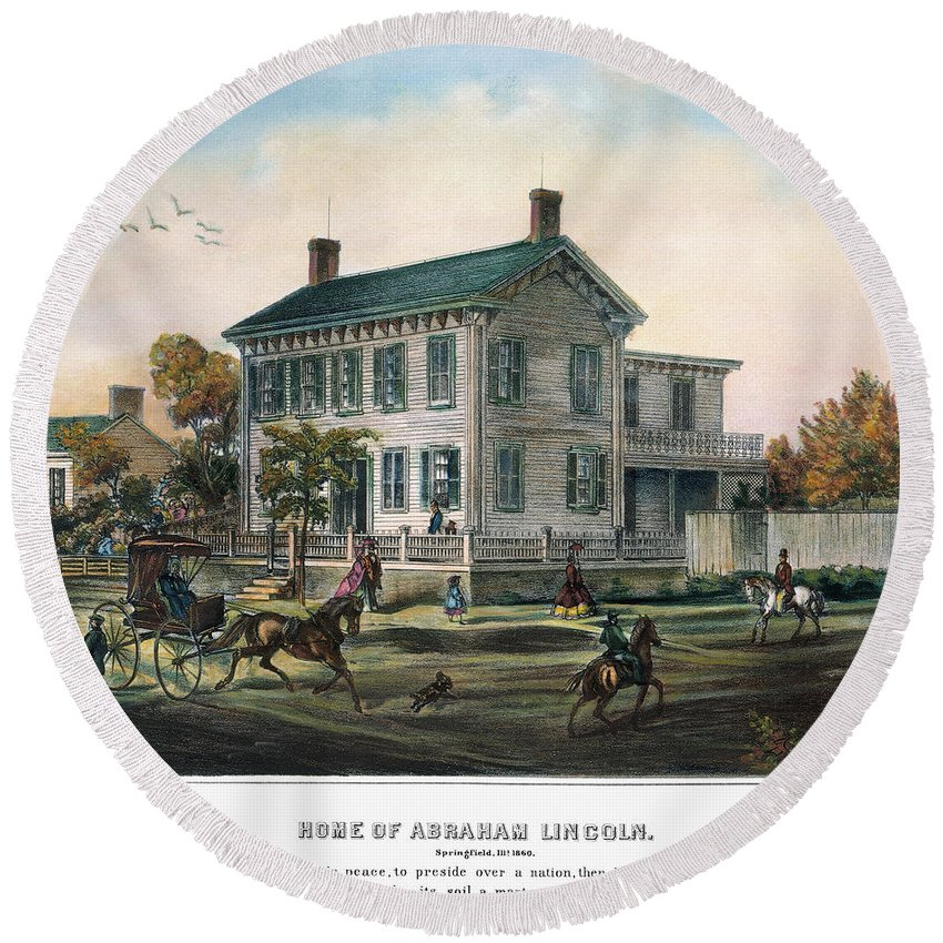 1865 Round Beach Towel featuring the photograph Abraham Lincolns Home by Granger