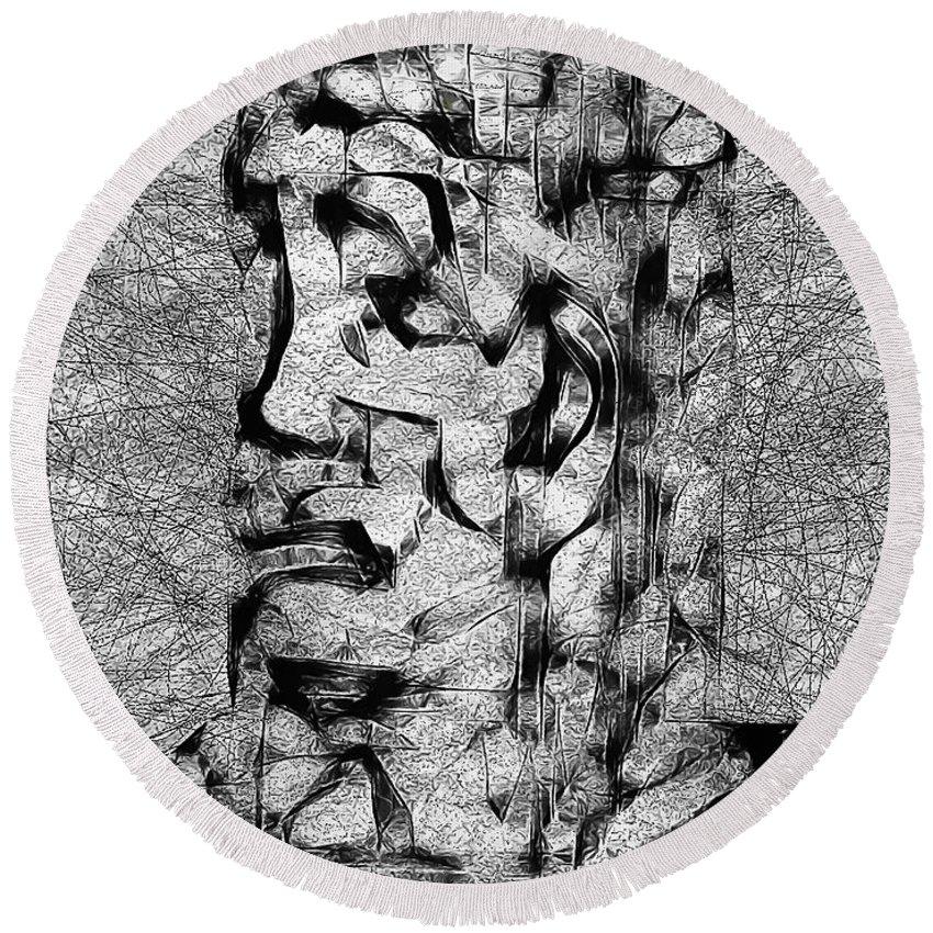Graphics Round Beach Towel featuring the digital art Abs 0426 by Marek Lutek