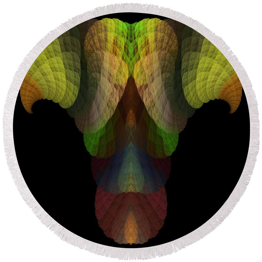 Fractal Digital Art Round Beach Towel featuring the photograph Abstract 203 by Mike Nellums