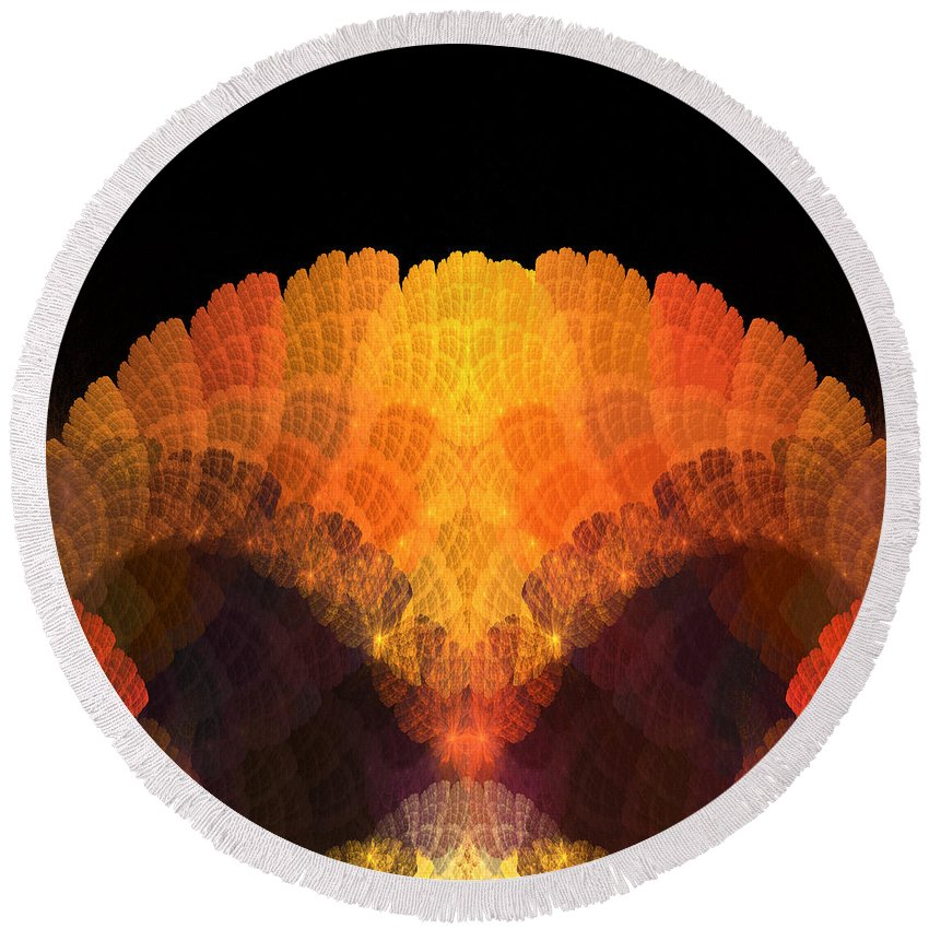 Fractal Digital Art Round Beach Towel featuring the photograph Abstract 204 by Mike Nellums
