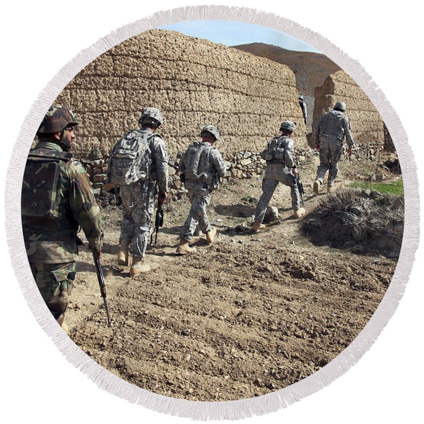 Military Round Beach Towel featuring the photograph Afghan National Army And U.s. Soldiers by Stocktrek Images