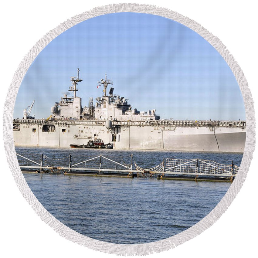 No People Round Beach Towel featuring the photograph Amphibious Assault Ship Uss Wasp by Stocktrek Images
