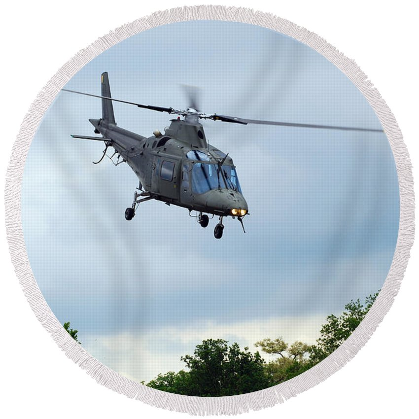 Helicopter Round Beach Towel featuring the photograph An Agusta A109 Helicopter by Luc De Jaeger