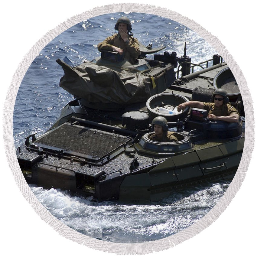 Marines Round Beach Towel featuring the photograph An Amphibious Assault Vehicle by Stocktrek Images