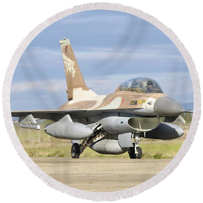 Transportation Round Beach Towel featuring the photograph An F-16b Netz Of The Israeli Air Force by Giovanni Colla