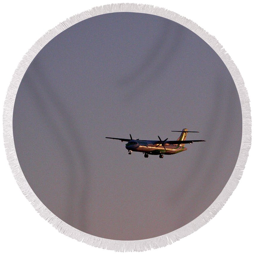 Canary Islands Round Beach Towel featuring the photograph Arrivals by Jouko Lehto