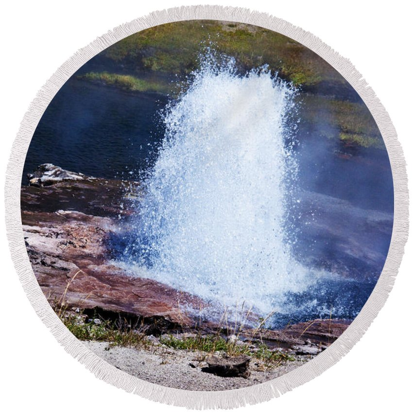 Artesia Geyser Bubbles Splashes Superheated Steam Rises Pool Lower Geyser Basin Round Beach Towel featuring the photograph Artesia Geyser by Paul Cannon
