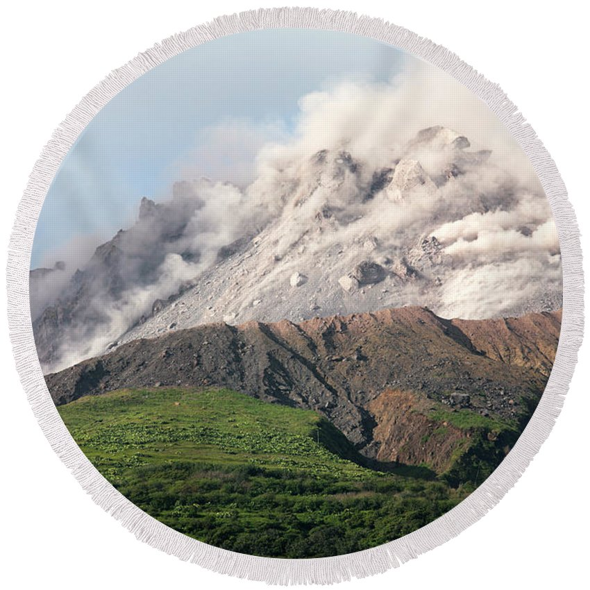 Active Volcano Round Beach Towel featuring the photograph Ash And Gas Rising From Lava Dome by Richard Roscoe