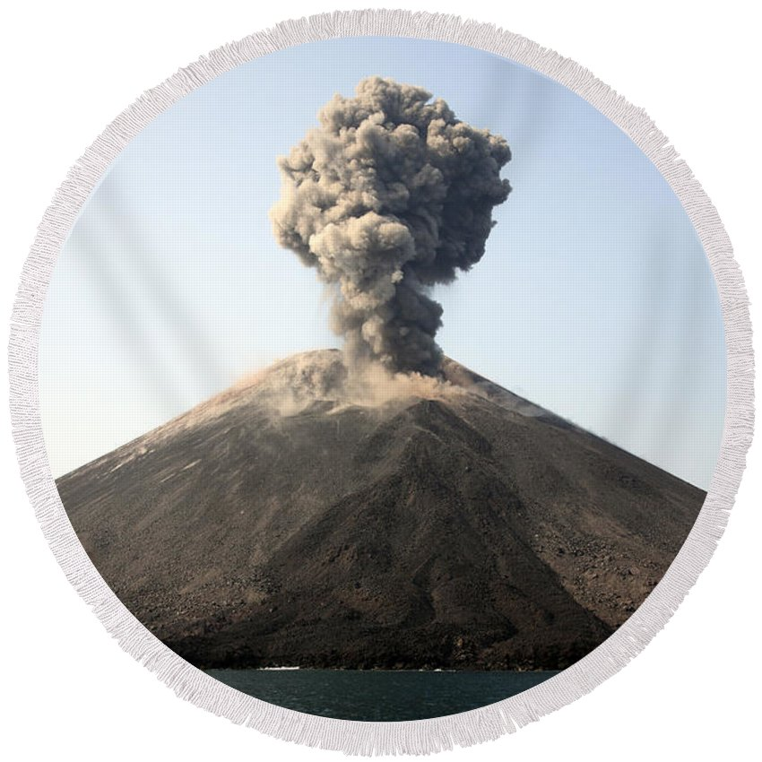 Island Round Beach Towel featuring the photograph Ash Cloud From Vulcanian Eruption by Richard Roscoe
