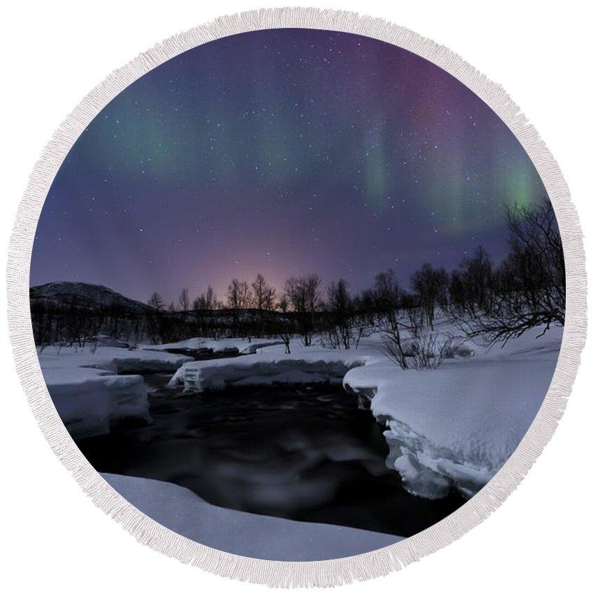 Aurora Borealis Round Beach Towel featuring the photograph Aurora Borealis Over Blafjellelva River by Arild Heitmann