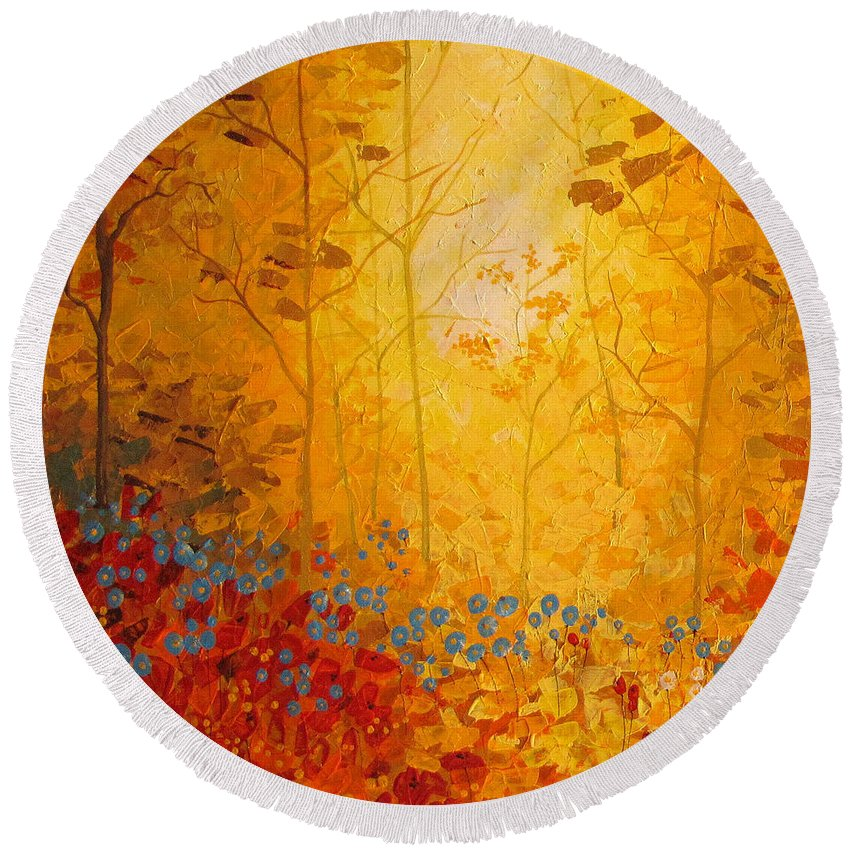 Round Beach Towel featuring the painting Autumn by Stefan Georgiev