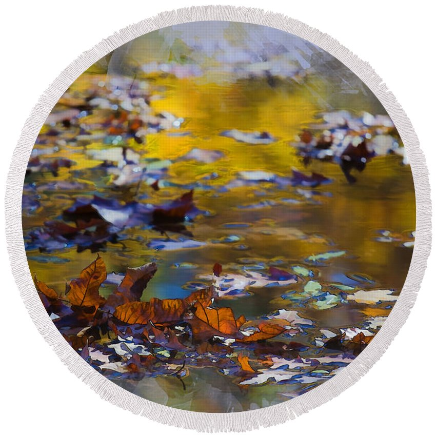Water Round Beach Towel featuring the photograph Autumn Voyage by Ron Jones