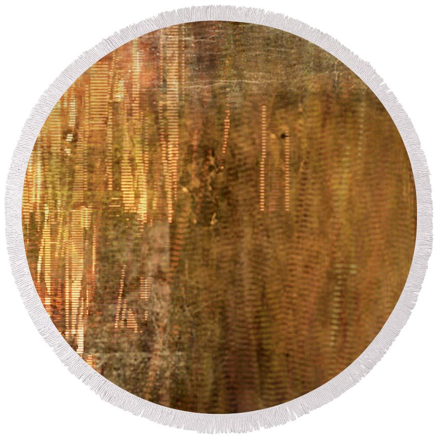 Bamboo Round Beach Towel featuring the painting Bamboo by Christopher Gaston