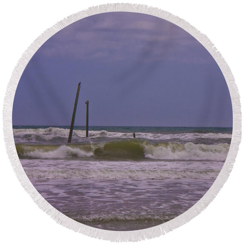 Barnacle Round Beach Towel featuring the photograph Barnacle Bill's Pier Remnants by Betsy Knapp