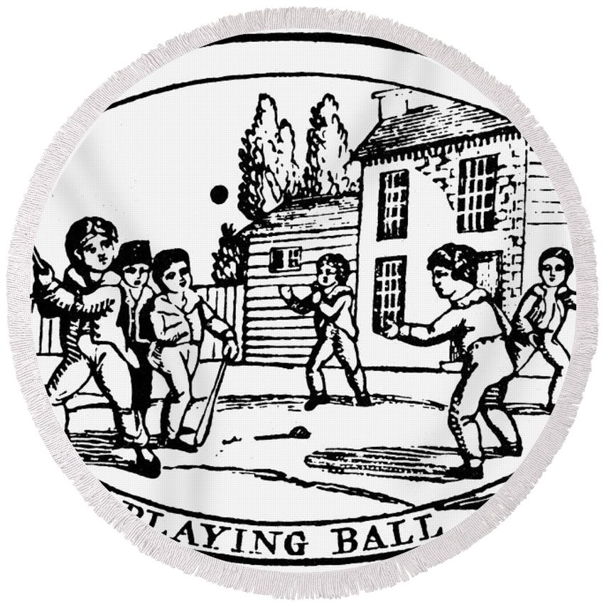 1820 Round Beach Towel featuring the photograph Baseball Game, 1820 by Granger