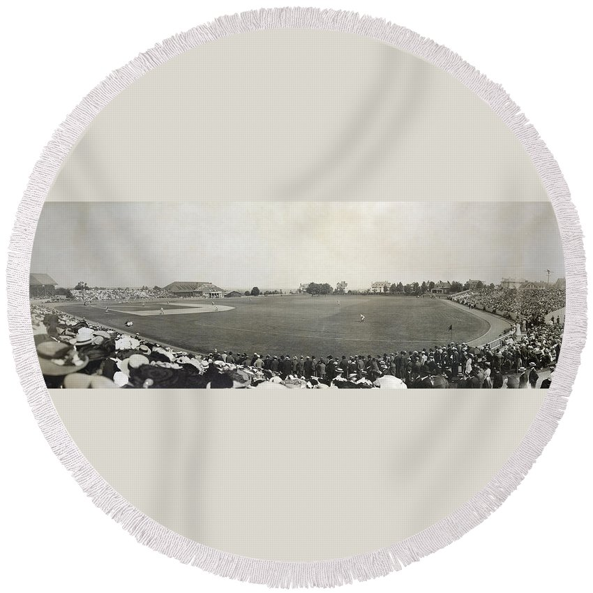 1904 Round Beach Towel featuring the photograph Baseball Game, 1904 by Granger