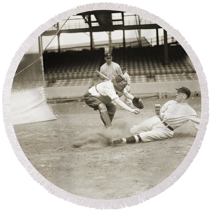 1915 Round Beach Towel featuring the photograph Baseball Game, C1915 by Granger
