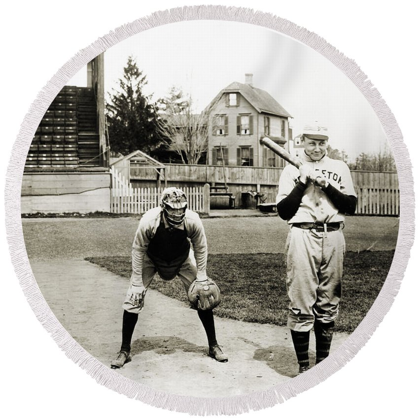 1901 Round Beach Towel featuring the photograph Baseball: Princeton, 1901 by Granger