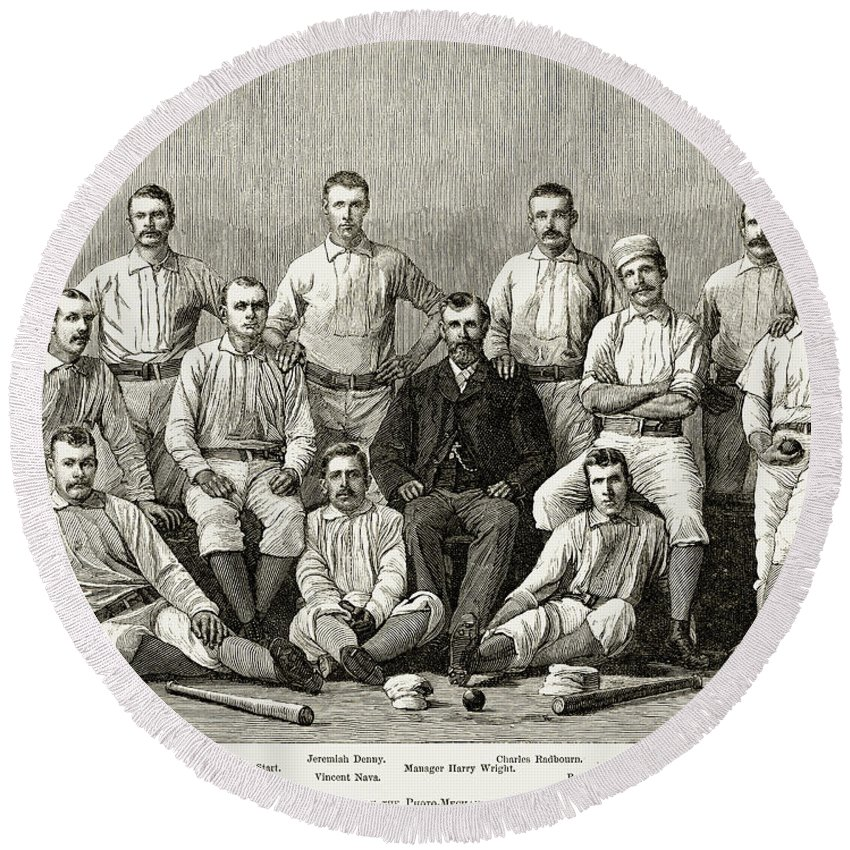 1882 Round Beach Towel featuring the photograph Baseball: Providence, 1882 by Granger