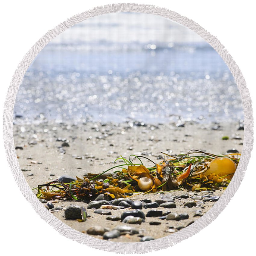 Pacific Round Beach Towel featuring the photograph Beach Detail On Pacific Ocean Coast by Elena Elisseeva
