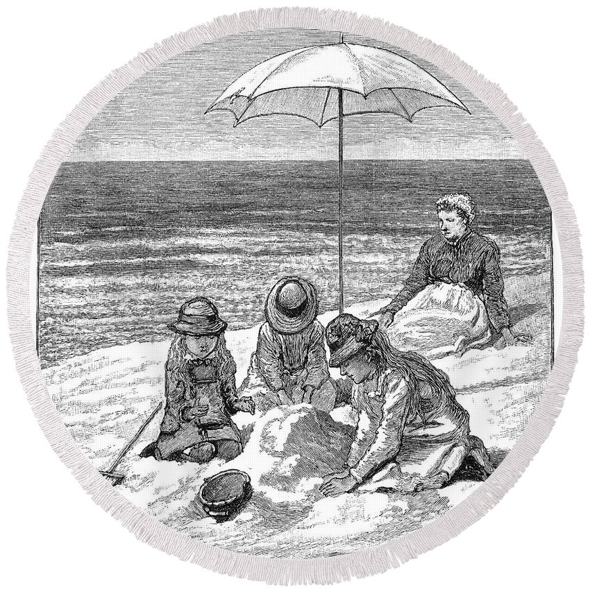 1879 Round Beach Towel featuring the photograph Beach Scene, 1879 by Granger