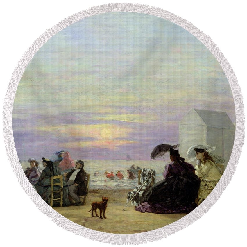Beach Round Beach Towel featuring the painting Beach Scene by Eugene Louis Boudin