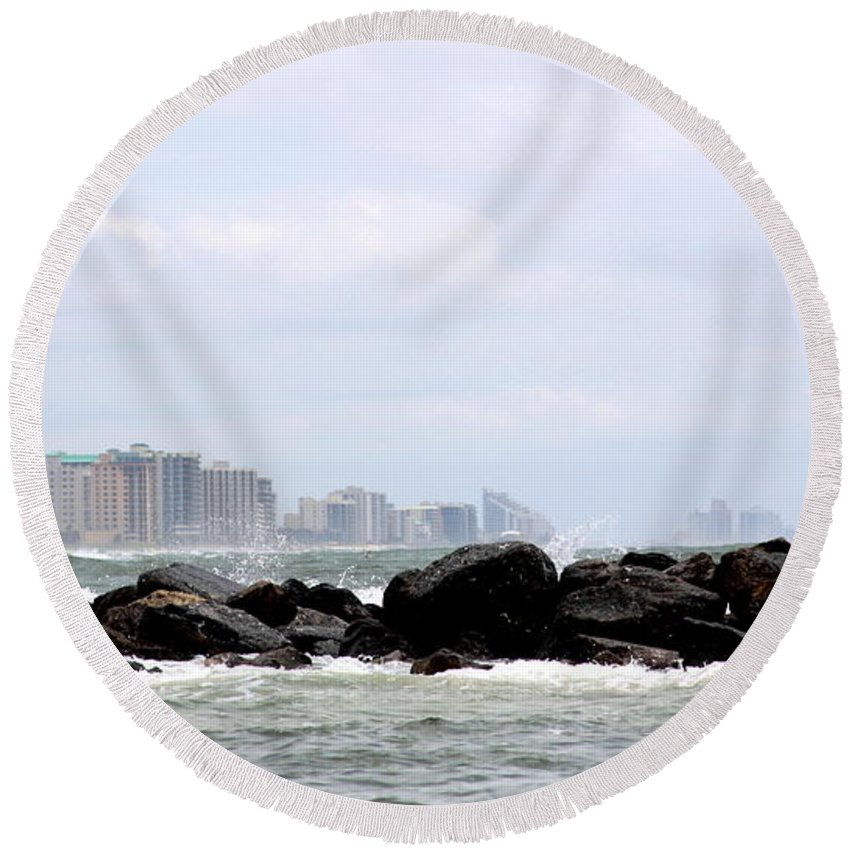 Gulf Of Mexico Round Beach Towel featuring the photograph Beyond The Rocks by Travis Truelove