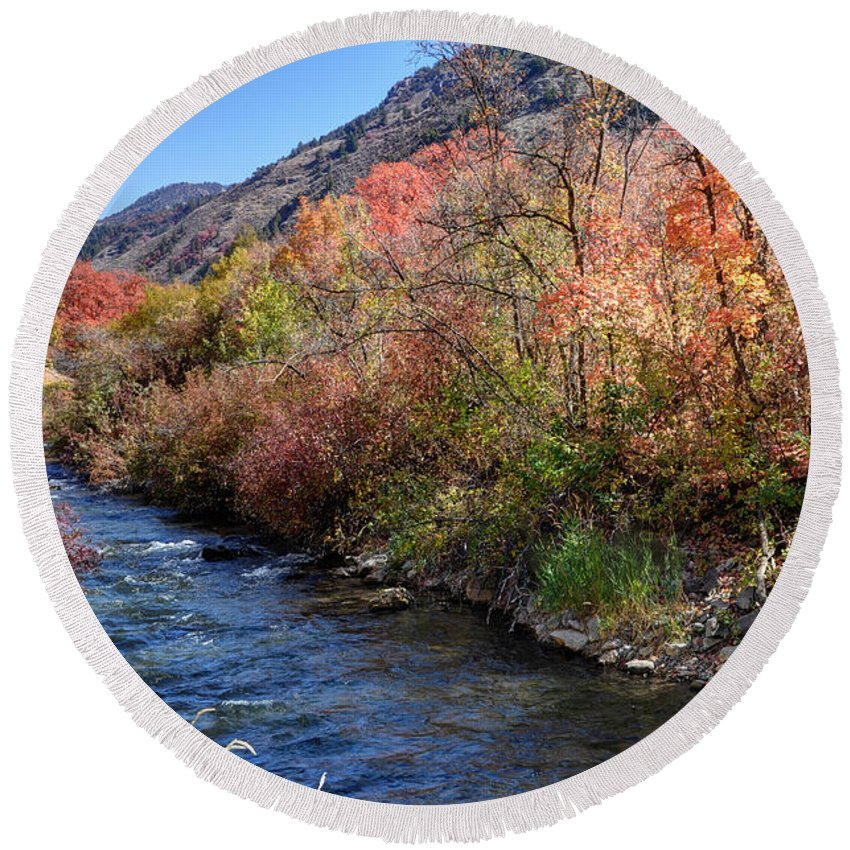 Blacksmith Round Beach Towel featuring the photograph Blacksmith Fork River In The Fall - Utah by Gary Whitton