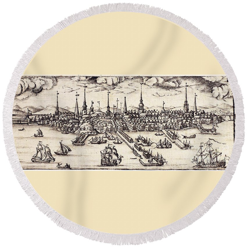 1743 Round Beach Towel featuring the photograph Boston, 1743 by Granger