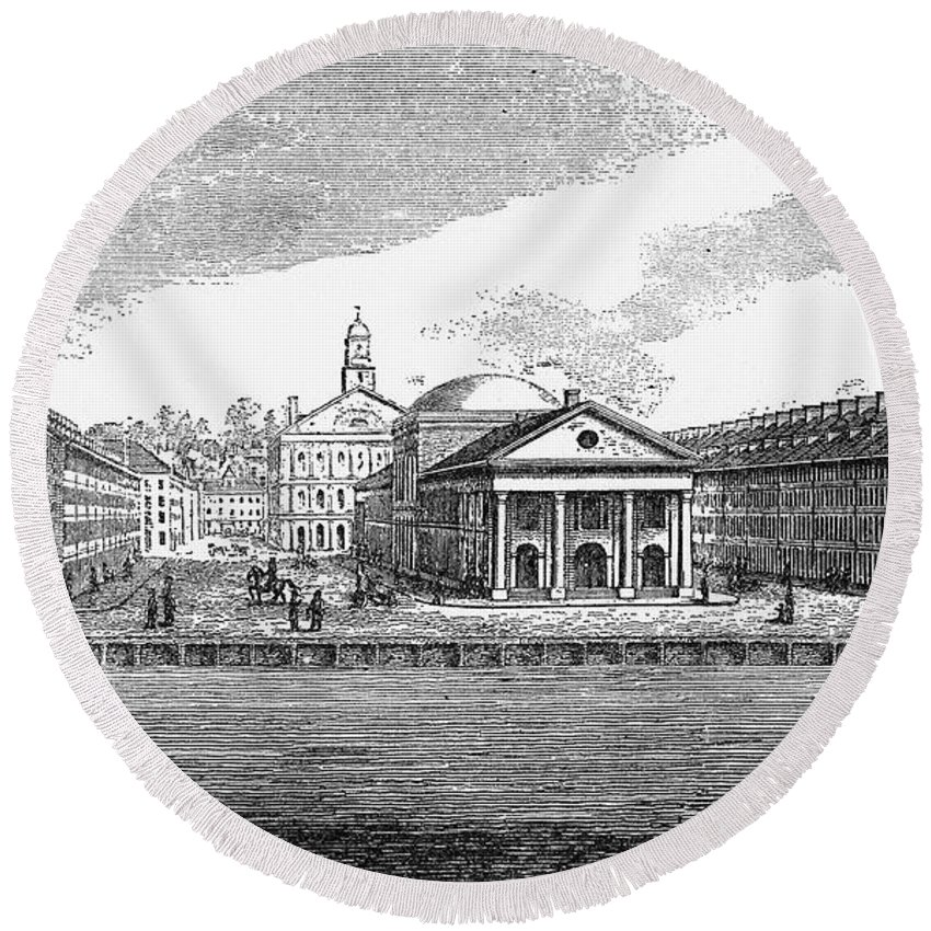 19th Century Round Beach Towel featuring the photograph Boston: Quincy Market by Granger