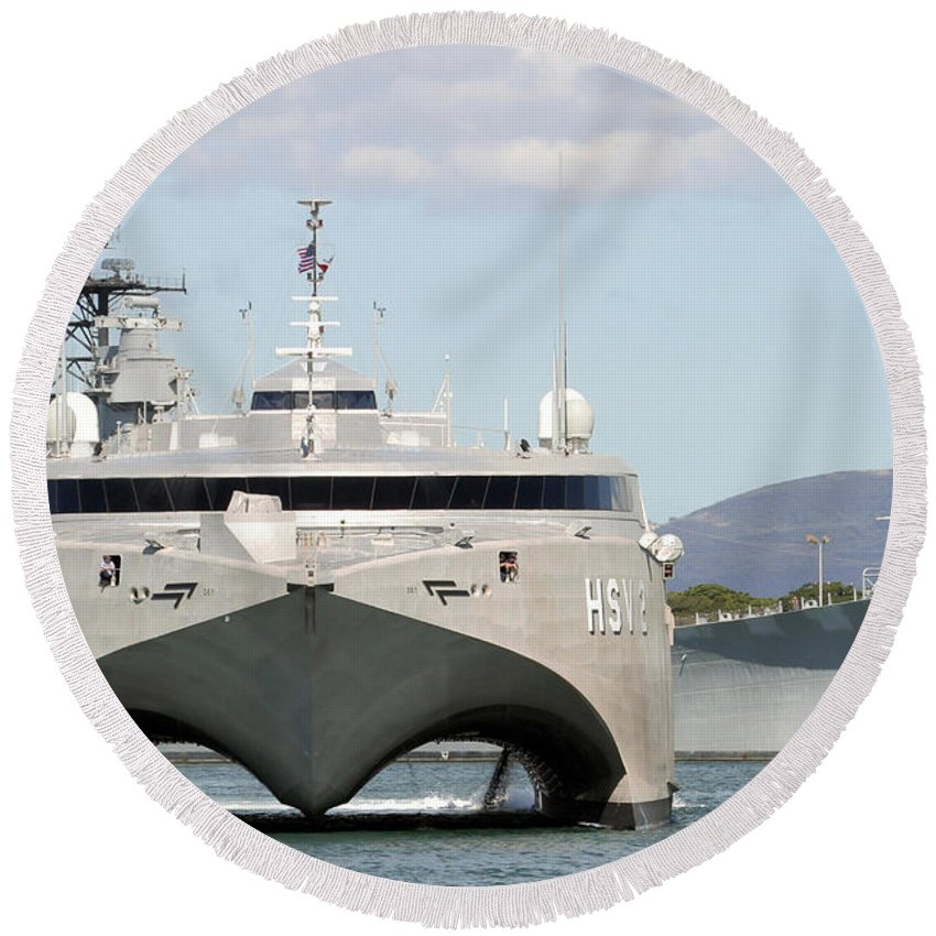 Bb-63 Round Beach Towel featuring the photograph Bow On View Of The Us Navy Experimental by Stocktrek Images