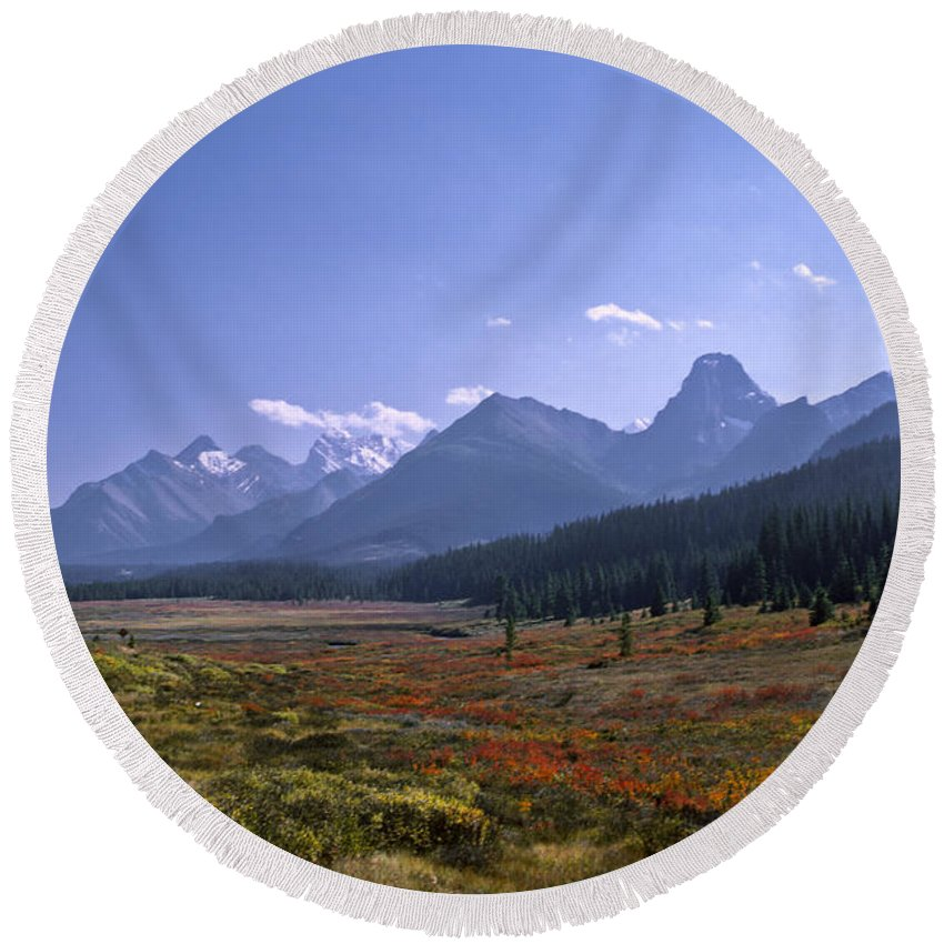 Americas Round Beach Towel featuring the photograph Bugaboo Valley by Roderick Bley