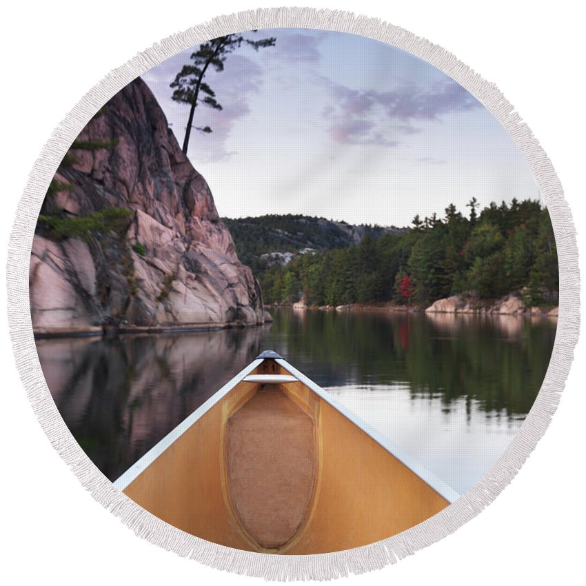 Canoe Round Beach Towel featuring the photograph Canoeing In Ontario Provincial Park by Maxim Images Prints