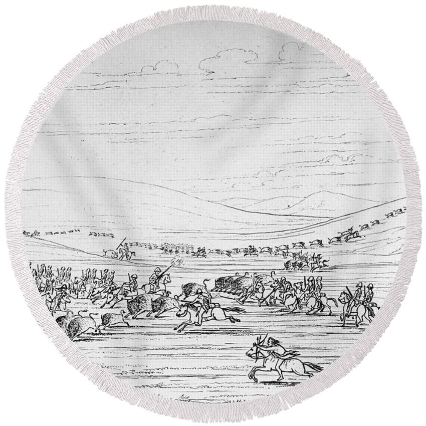 1844 Round Beach Towel featuring the photograph Catlin: Buffalo Hunt by Granger