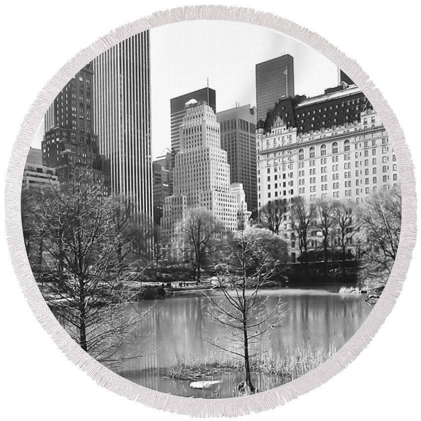 America Round Beach Towel featuring the photograph Central Park by Svetlana Sewell