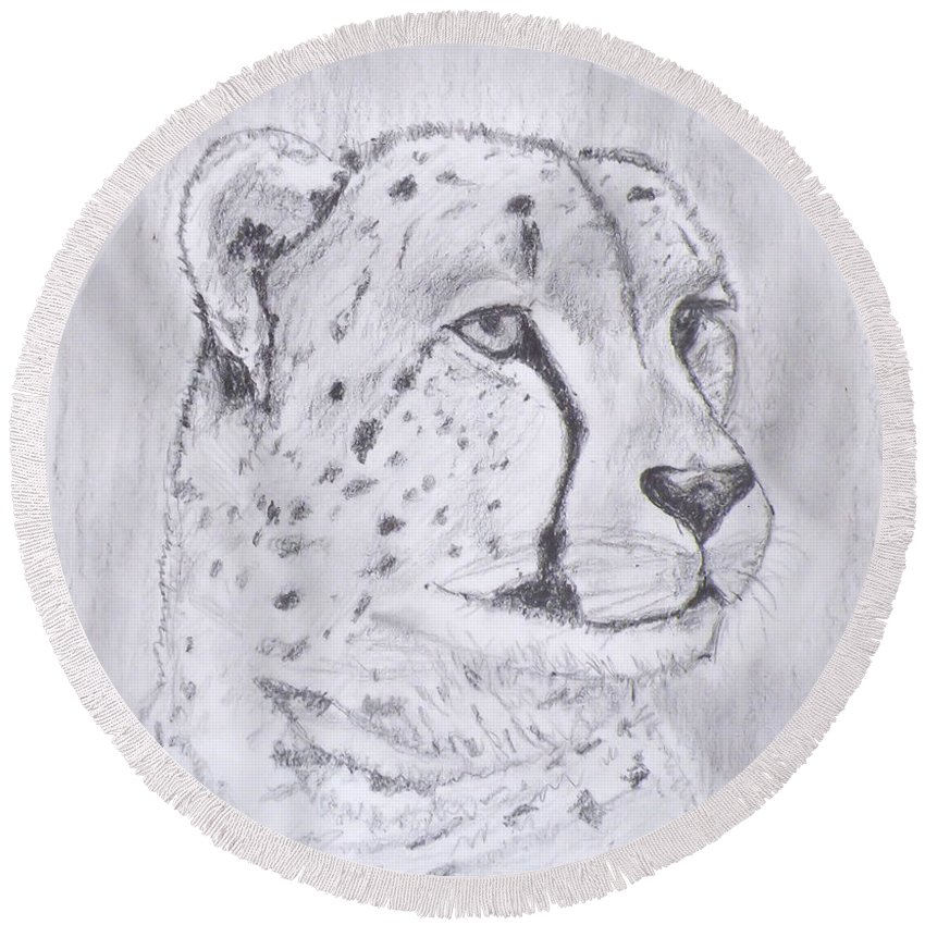 Drawing Round Beach Towel featuring the drawing Cheeta Watching by Gilbert Pennison