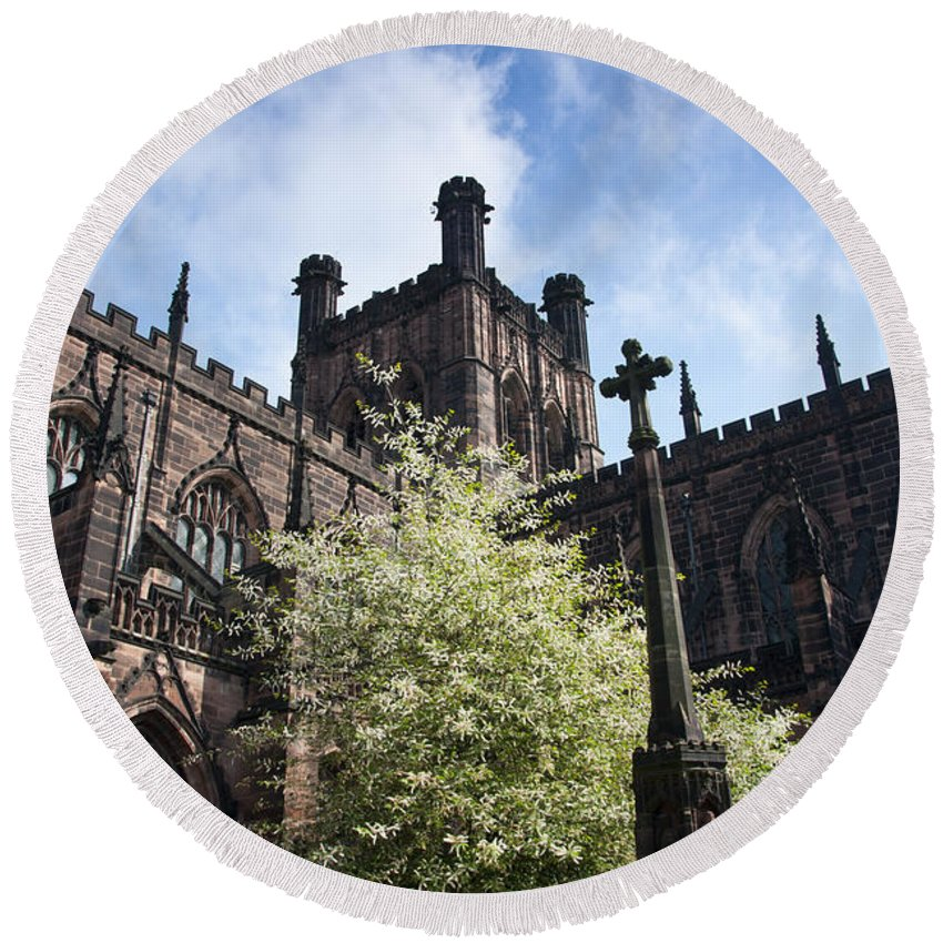 2011 Round Beach Towel featuring the photograph Chester Cathedral by Andrew Michael