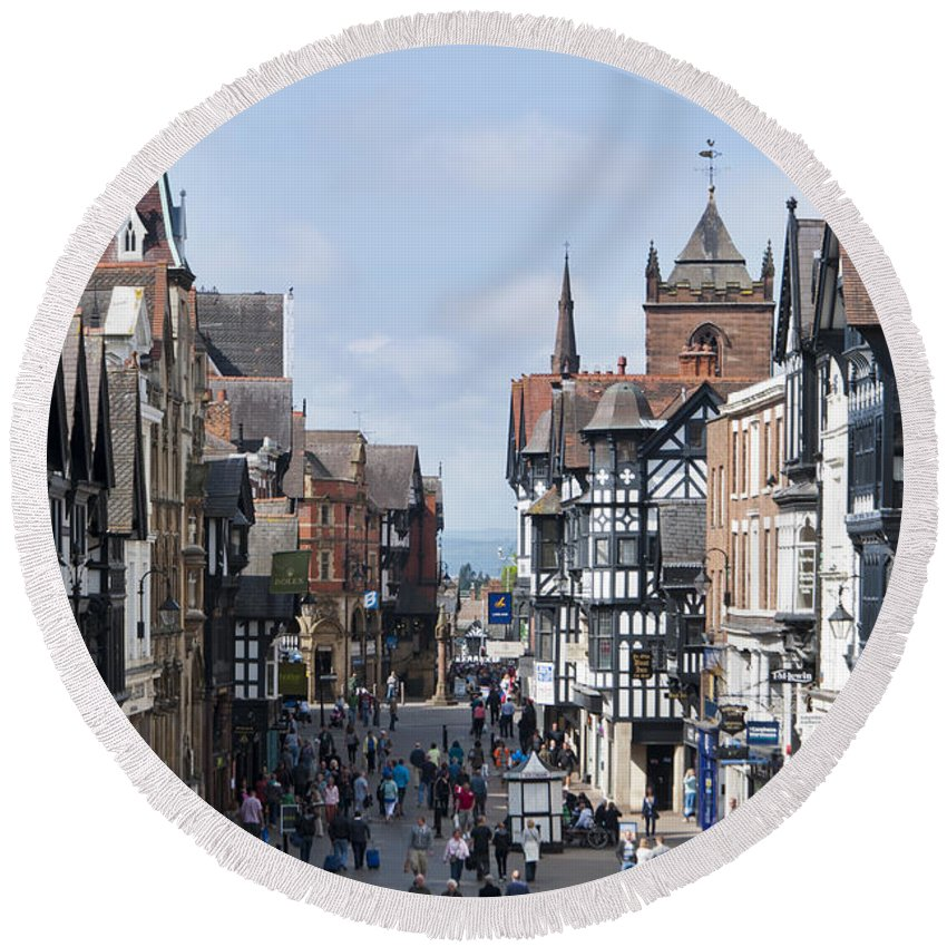2011 Round Beach Towel featuring the photograph Chester City Centre by Andrew Michael