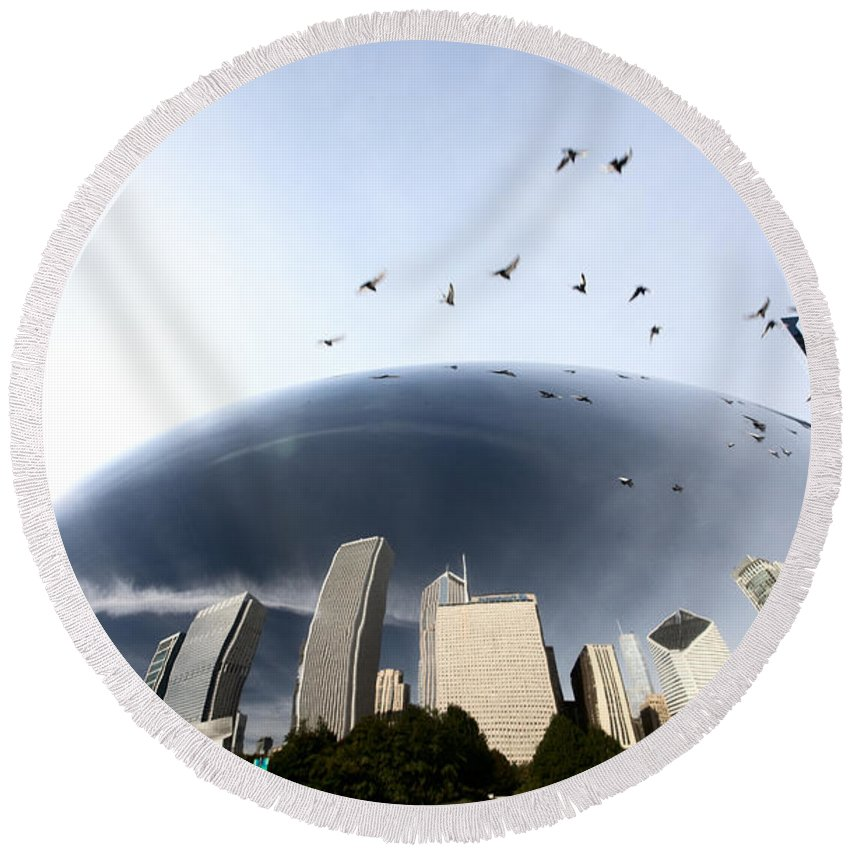 Cityscape Round Beach Towel featuring the digital art Chicago Cityscape The Bean by Mark Duffy