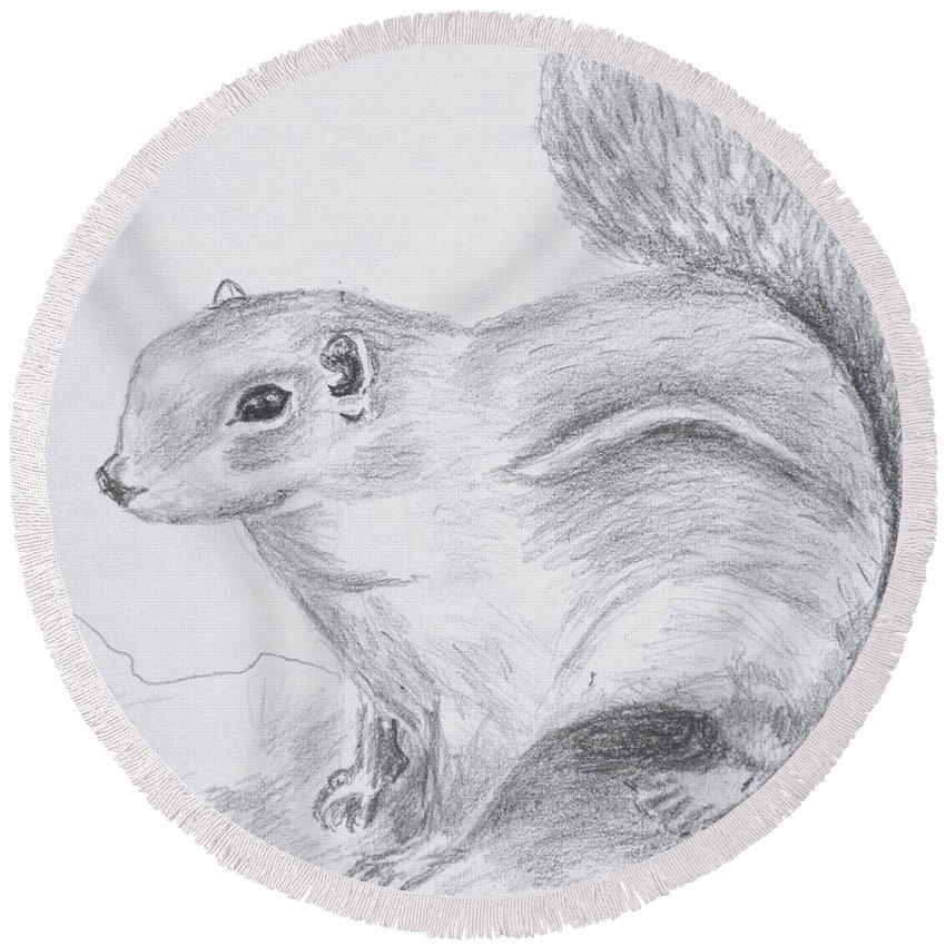Animals Round Beach Towel featuring the drawing Chipmunk Waiting by Gilbert Pennison