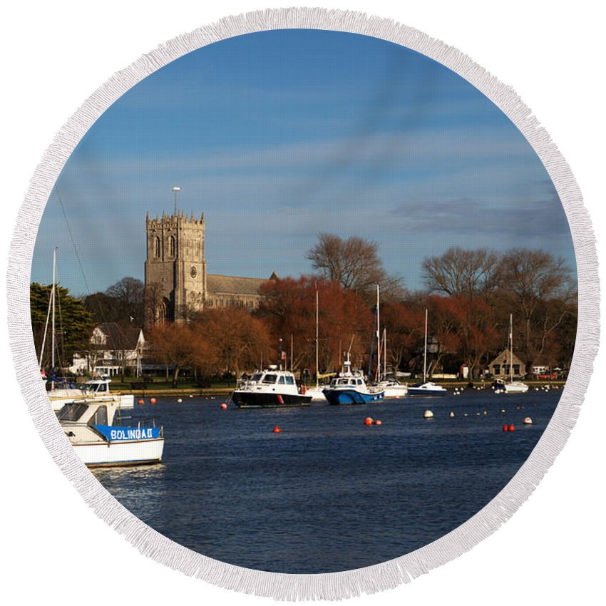 Christchurch Round Beach Towel featuring the photograph Christchurch by Chris Day