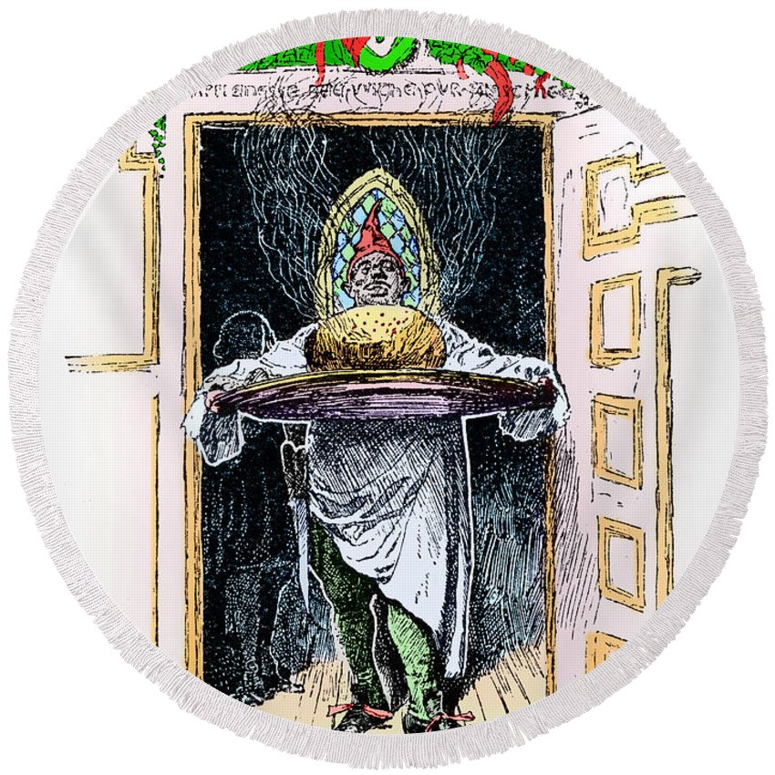 1882 Round Beach Towel featuring the photograph Christmas Pudding, 1882 by Granger