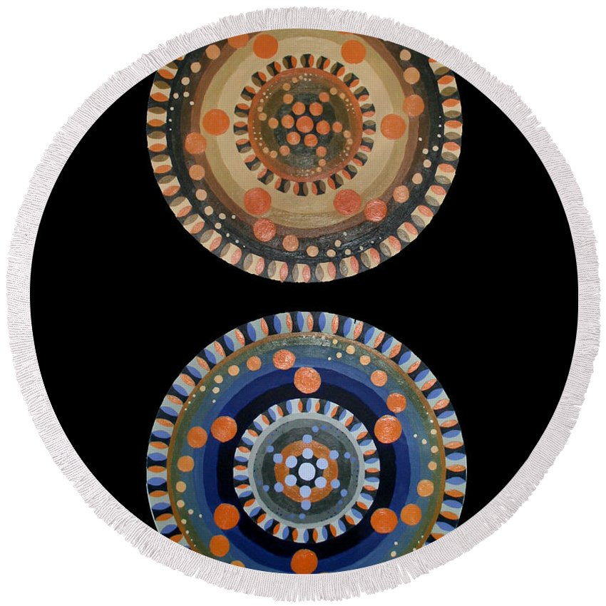Round Beach Towel featuring the painting Circles by Kate Fortin
