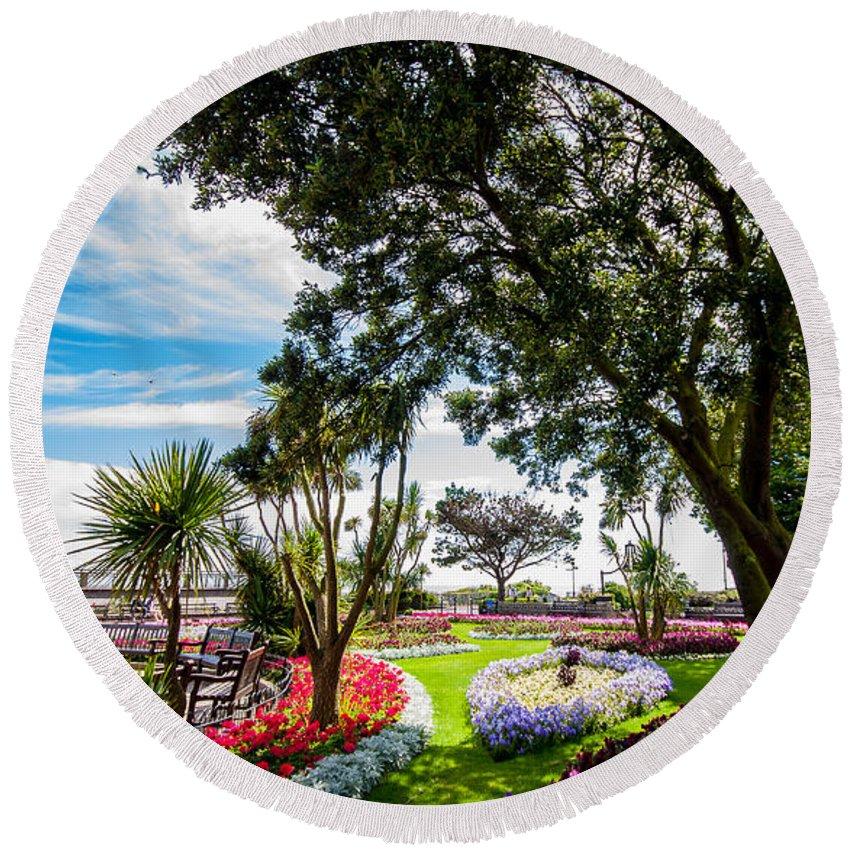 Beach Round Beach Towel featuring the photograph Clacton Pleasure Garden by Dawn OConnor